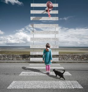 Alastair Magnaldo: Girl on a Zebracrossing Rising to the Sky
